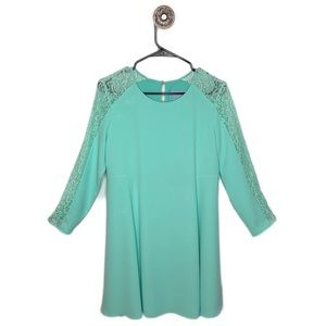 CeCe Aqua Long Sleeve Lace Dress Size 8